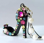 Alloy zink, with Glass Pearl, Këpucët, ngjyrë platin praruar, smalt & me diamant i rremë, e zezë, , nikel çojë \x26amp; kadmium falas, 35x41mm, 30PC/Shumë,  Shumë