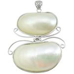 Pendants Natyrore White Shell, with Tunxh, Figura, ngjyrë platin praruar, asnjë, asnjë, 49x58x13mm, : 5x7mm, 5PC/Shumë,  Shumë