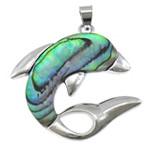 Pendants Natyrore predhë guaskë, Shell Guaskë, with Tunxh, Delfin, ngjyrë platin praruar, asnjë, asnjë, 37x37x4mm, : 4x6mm, 10PC/Shumë,  Shumë