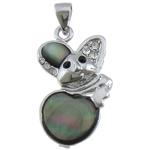 Pendants Natyrore Zi Shell, Black Shell, with Tunxh, Maus, ngjyrë platin praruar, me diamant i rremë, asnjë, 16.50x26x4mm, : 3x6mm, 20PC/Shumë,  Shumë