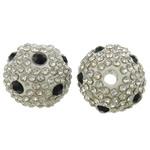 Alloy zink Beads diamant i rremë, Round, electrophoresis, me diamant i rremë, e bardhë, , nikel çojë \x26amp; kadmium falas, 15mm, : 3mm, 10PC/Qese,  Qese