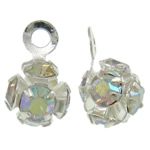 Tunxh, Round, Ngjyra argjend praruar, me diamant i rremë, asnjë, , nikel çojë \x26amp; kadmium falas, 4x7x4mm, : 1mm, 100PC/Qese,  Qese