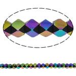 Beads Crystal, Kristal, Shumëkëndësh, colorful kromuar, faceted, asnjë, 6x7mm, : 1.5mm, : 12.5Inç, 49PC/Fije floku,  12.5Inç,