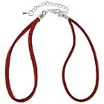 Byzylyk Moda Cord, Velveteen, Shape Tjera, Ngjyra argjend praruar, i kuq, 2.50mm, : 7.5Inç, 100Fillesat/Shumë,  Shumë