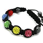 Diamant i rremë Shamballa Bracelets, diamant i rremë Shtrim bead, with Cord najlon & Jo-magnetike kuqe e mbylltë, Shape Tjera, endura, asnjë, multi-colored, 10mm, :7-11Inç, 20Fillesat/Shumë,  Shumë