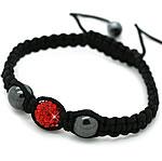 Diamant i rremë Shamballa Bracelets, diamant i rremë Shtrim bead, with Cord najlon & Jo-magnetike kuqe e mbylltë, Shape Tjera, endura, asnjë, e zezë, 10mm, :7-11Inç, 50Fillesat/Shumë,  Shumë