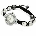 Shamballa Rights Watch, diamant i rremë Shtrim bead, with Cord najlon & Jo-magnetike kuqe e mbylltë & Alloy zink, Shape Tjera, endura, me diamant i rremë, e bardhë, 10mm, :7-11Inç, 10Fillesat/Shumë,  Shumë