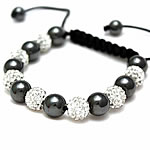 Diamant i rremë Shamballa Bracelets, diamant i rremë Shtrim bead, with Cord najlon & Jo-magnetike kuqe e mbylltë, Shape Tjera, endura, asnjë, asnjë, 10mm, :7-11Inç, 20Fillesat/Shumë,  Shumë