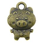 Pendants Zink Alloy Kafshëve, Alloy zink, Derr, Ngjyra antike bronz i praruar, asnjë, asnjë, , nikel çojë \x26amp; kadmium falas, 11x15x3mm, : 2mm, 770PC/KG,  KG