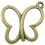 Pendants Zink Alloy Kafshëve, Alloy zink, Flutur, Ngjyra antike bronz i praruar, asnjë, asnjë, , nikel çojë \x26amp; kadmium falas, 19x17x1.50mm, : 2mm, 1000PC/KG,  KG