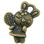 Pendants Zink Alloy Kafshëve, Alloy zink, Lepur, Ngjyra antike bronz i praruar, asnjë, asnjë, , nikel çojë \x26amp; kadmium falas, 21x15x2mm, : 2x3mm, 94PC/KG,  KG