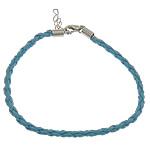 Byzylyk Moda Cord, PU, with Hekur, Shape Tjera, ngjyrë platin praruar, asnjë, dritë blu, 3mm, : 8Inç, 300Fillesat/Shumë,  Shumë