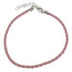 Byzylyk Moda Cord, PU, with Hekur, Shape Tjera, ngjyrë platin praruar, asnjë, rozë, 3mm, :8Inç, 300Fillesat/Shumë,  Shumë