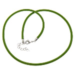 Cord gjerdan Moda, with Tunxh, Shape Tjera, ngjyrë platin praruar, asnjë, e gjelbër, 4mm, :18Inç, 100Fillesat/Shumë,  Shumë