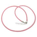 Cord gjerdan Moda, with Tunxh, Shape Tjera, ngjyrë platin praruar, asnjë, rozë, 4mm, :18Inç, 100Fillesat/Shumë,  Shumë