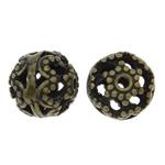 Beads Hollow tunxh, Daulle, Ngjyra antike bronz i praruar, i uritur, asnjë, , nikel çojë \x26amp; kadmium falas, 10mm, : 1mm, 50PC/Qese,  Qese