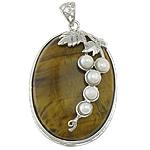 Syri Tiger Pendants, with Pearl kulturuar ujërave të ëmbla & Tunxh, Oval Flat, ngjyrë platin praruar, asnjë, 32x47x12mm, : 5x6mm, 5PC/Shumë,  Shumë