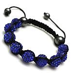 Diamant i rremë Shamballa Bracelets, diamant i rremë Shtrim bead, with Cord najlon & Jo-magnetike kuqe e mbylltë, Shape Tjera, endura, asnjë, blu, 10mm, :7-11Inç, 10Fillesat/Shumë,  Shumë