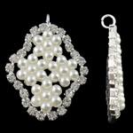 Tunxh, Romb, Ngjyra argjend praruar, me margaritar xhami & me diamant i rremë, e bardhë, , nikel çojë \x26amp; kadmium falas, 23x31.50x3.50mm, : 2.5mm, 20PC/Qese,  Qese