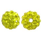Diamant i rremë balta Beads hapë, Argjilë, Round, asnjë, me diamant i rremë, Ngjyrë limoni, 10mm, PP17, : 2mm, 200PC/Qese,  Qese
