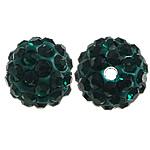 Diamant i rremë balta Beads hapë, Argjilë, Round, asnjë, me diamant i rremë, jeshile të thellë, 10mm, PP15, : 2mm, 200PC/Qese,  Qese