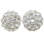 Diamant i rremë balta Beads hapë, Argjilë, Round, asnjë, me diamant i rremë, e bardhë, 10mm, PP15, : 2mm, 200PC/Qese,  Qese