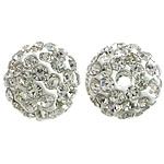 Diamant i rremë balta Beads hapë, Argjilë, Round, asnjë, me diamant i rremë, e bardhë, 10mm, PP12, : 2mm, 200PC/Qese,  Qese