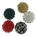 Diamant i rremë balta Beads hapë, Argjilë, Round, asnjë, me diamant i rremë, ngjyra të përziera, 10mm, PP15, : 2mm, 300PC/Qese,  Qese