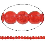 Glass Beads kërcitje, Xham, Round, asnjë, i kuq, 5mm, : 1mm, : 32.5Inç, 10Fillesat/Qese, approx228Pcs/Strand,  Qese