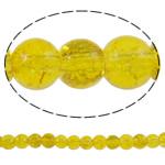 Glass Beads kërcitje, Xham, Round, asnjë, i verdhë, 6mm, : 1mm, : 32.2Inç, 10Fillesat/Qese, approx161Pcs/Strand,  Qese