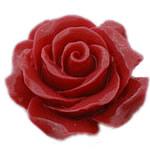Rrëshirë Cabochon, Lule, asnjë, asnjë, kuqe të thellë, 30x30mm, 90PC/Shumë,  Shumë