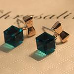 Një palë vathë Crystal, Kristal, with Alloy zink, Kub, ngjyra rose ari praruar, asnjë, Smerald, 11x10mm, 5Çiftet/Shumë,  Shumë