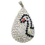 Varëse diamant i rremë, Argjilë, with Tunxh, Lot, ngjyrë platin praruar, me diamant i rremë, e bardhë, 20x34mm, PP14, : 4x5mm, 10PC/Qese,  Qese