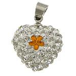Varëse diamant i rremë, Argjilë, with Plastik & Tunxh, Zemër, ngjyrë platin praruar, me diamant i rremë, e bardhë, 15x16x9mm, PP13, : 4x5mm, 30PC/Qese,  Qese