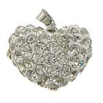 Varëse diamant i rremë, Argjilë, with Tunxh, Zemër, ngjyrë platin praruar, me diamant i rremë, e bardhë, 20x18x13mm, PP19, : 4x5mm, 30PC/Qese,  Qese