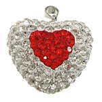 Varëse diamant i rremë, Argjilë, with Plastik & Tunxh, Zemër, ngjyrë platin praruar, me diamant i rremë, asnjë, 25x24x14mm, PP17, : 4x5mm, 20PC/Qese,  Qese