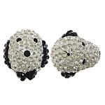Diamant i rremë balta Beads hapë, Argjilë, Qen, asnjë, me diamant i rremë Çeke & gjysmë-shpuar, asnjë, 17x19x7mm, : 0.5mm, 10PC/Qese,  Qese
