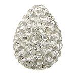 Diamant i rremë balta Beads hapë, Argjilë, Lot, asnjë, me diamant i rremë & gjysmë-shpuar, e bardhë, 20x28x20mm, : 1.5mm, 30PC/Qese,  Qese