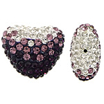 Diamant i rremë balta Beads hapë, Argjilë, Zemër, asnjë, me diamant i rremë & gjysmë-shpuar, asnjë, 25x21x14mm, : 1.5mm, 20PC/Qese,  Qese
