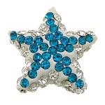 Diamant i rremë balta Beads hapë, Argjilë, Yll, asnjë, me diamant i rremë & gjysmë-shpuar, asnjë, 18x18x7mm, : 1mm, 50PC/Qese,  Qese