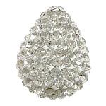 Diamant i rremë balta Beads hapë, Argjilë, Lot, asnjë, me diamant i rremë & gjysmë-shpuar, e bardhë, 25x33x13mm, : 2mm, 30PC/Qese,  Qese