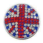Diamant i rremë balta Beads hapë, Argjilë, with plastike bakrit të veshura, Round Flat, ngjyrë platin praruar, me diamant i rremë & 2-fije floku, multi-colored, 29x29x9mm, : 2mm, 30PC/Qese,  Qese