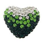 Diamant i rremë balta Beads hapë, Argjilë, Zemër, asnjë, me diamant i rremë & gjysmë-shpuar, asnjë, 28x24x16mm, : 1.5mm, 20PC/Qese,  Qese