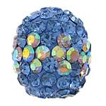 Diamant i rremë balta Beads hapë, Argjilë, Oval, Ngjyra AB kromuar, me diamant i rremë & gjysmë-shpuar, blu, 11x13mm, : 0.5mm, 50PC/Qese,  Qese