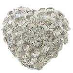 Diamant i rremë balta Beads hapë, diamant i rremë Shtrim bead, Zemër, asnjë, gjysmë-shpuar, e bardhë, 11x12mm, : 0.5mm, 50PC/Qese,  Qese
