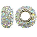 Tunxh Beads European, with Argjilë & Diamant i rremë, Rondelle, ngjyrë platin praruar, core bronzi vetme pa karrem, asnjë, , nikel çojë \x26amp; kadmium falas, 7x14mm, : 5mm, 50PC/Qese,  Qese
