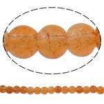 Glass Beads kërcitje, Xham, Round, asnjë, portokall, 6mm, : 1mm, : 31.5Inç, 10Fillesat/Qese, approx145Pcs/Strand,  Qese