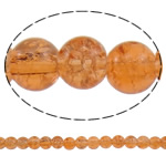 Glass Beads kërcitje, Xham, Round, asnjë, portokall, 8mm, : 1.5mm, : 31.5Inç, 10Fillesat/Qese, approx112Pcs/Strand,  Qese