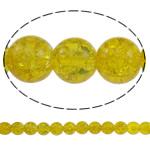 Glass Beads kërcitje, Xham, Round, asnjë, i verdhë, 10mm, : 1.5mm, : 31.5Inç, 10Fillesat/Qese, approx83Pcs/Strand,  Qese
