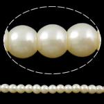 Pjekje llak Glass Beads, Xham, Round, stoving llak, asnjë, e bardhë, 6mm, : 1mm, : 31.5Inç, 10Fillesat/Qese, approx145Pcs/Strand,  Qese